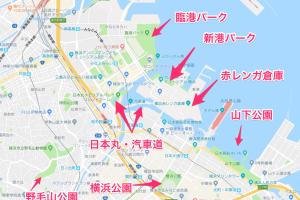 横浜の公園位置関係