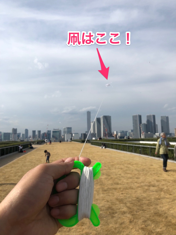 豊洲市場屋上芝生広場で凧揚げ